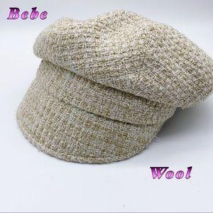 Bebe-Ivory Wool Blend Ivy Cap